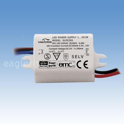 Eaglerise LED Driver constant current DC 350mA / 3-10.5Vdc / 3W, waterproof IP65